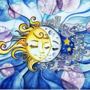 Picture of sun and moon intertwined