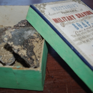 photo of lichens contained in an old soap box