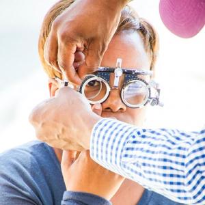 Woman having an eye exam