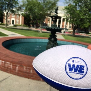 WE football in front of fountain