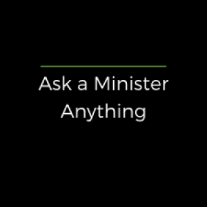 """Black square with white lettering under a green line reading, """"Ask a Minister Anything"""""""