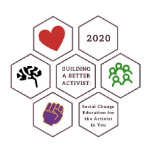 Building a Better Activist logo that includes a heart, brain, fist, and group of people