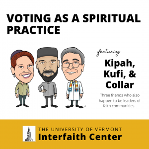 """Program logo for """"Voting as Spiritual Practice"""" which has a cartoon image of the three presenters, a rabbi, imam, and reverend."""