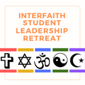 Logo for Interfaith Student Leadership Retreat - rainbow colors and various religious symbols