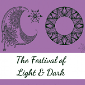 "Image of moon and soon with the text ""Festival of Light and Dark"""