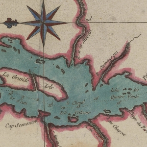 Antique map of Lake Champlain