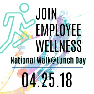 National Walk at Lunch Day Logo- Bright shoe and running clip art.