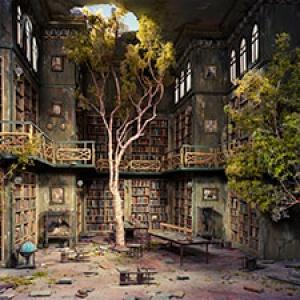"Detail of Lori Nix & Kathleen Gerber's ""Library"""