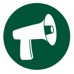 Green circle with white megaphone.