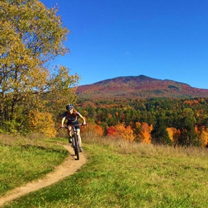 Mountain biker on a trail in Vermont