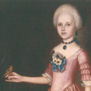 painting of a girl in colonial dress holding a bird on one outstretched hand