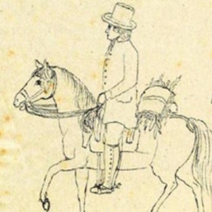 line drawing of Sellow on horseback with plant press, yellowed with age