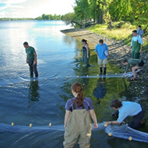 Students with beach net in lake