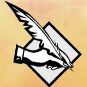logo for the English Symposium, a black and white cartoon hand holding a quill overlaying a diamond