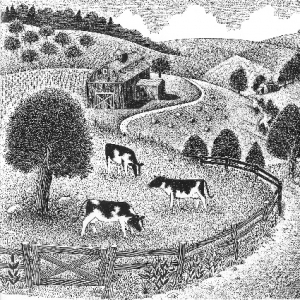 image description: black and white tapestry of cows, trees, fields, farm road and fence.