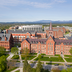 UVM campus, as seen from a drone