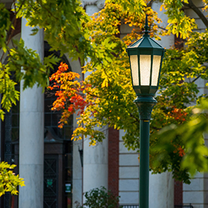 Lightpost and autumn leaves on University of Vermont campus