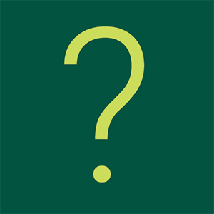 Green question mark on dark green background