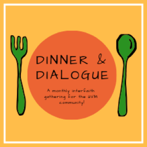 Dinner & Dialogue Logo of a dinner plate and silverware.