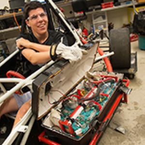 Student works on a racer
