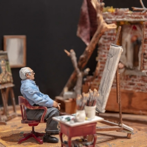 Detail image of Joe Fig's minmiature artwork of Ivan Albright's studio