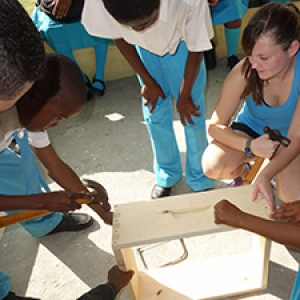 Students build bee boxes in Bahamas