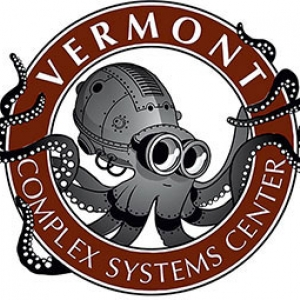 A robotic octopus with arms wrapped around a ring labelled Vermont Complex Systems Center