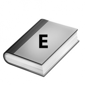 hard cover book with an E on cover