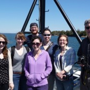 Students on a research boat
