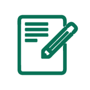A line icon illustrating a paper and a pen writing on it