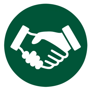 Green circle with handshake clipart.