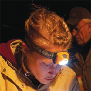 Student with headlamp