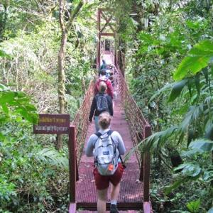 Students on bridge in Costa Rica