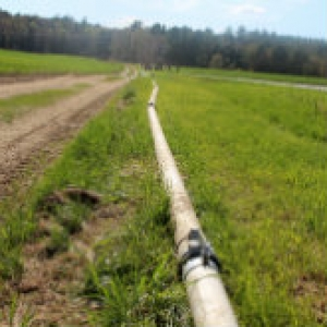Irrigation pipe in the field.