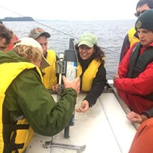 Limnology class on Melosira on Lake Champlain
