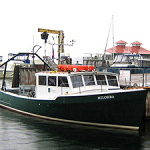 Research vessel Melosira at dock of Rubenstein Lab