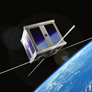 A nano satellite orbiting earth