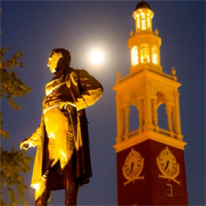 Statue in the evening on campus