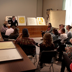 UVM art class meeting in the Museum's seminar room