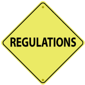 "Yellow sign with ""Regulations"""