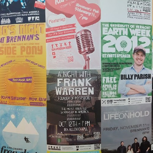 wall of event posters