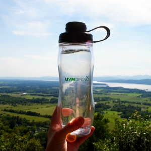 UVM Dining water bottle at top of Philo