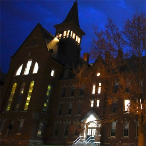 campus - Old Mill at night