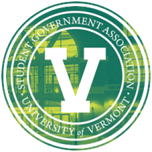 a circle logo that says 'student government association' with a big v in the center
