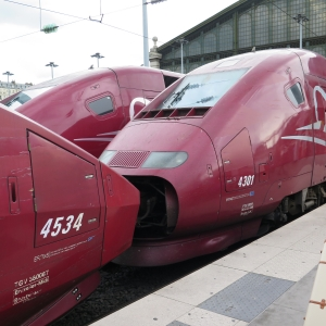 Parked high speed trains