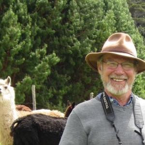 Stuart White with an alpaca