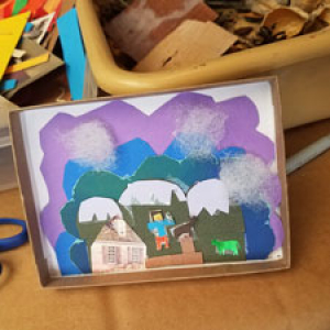 Photo of miniature art made by a student during one of our workshops