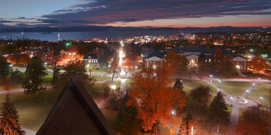 Campus over looking Lake Champlain in the evening