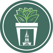 uvm growth icon with a tower logo on a potted plant.