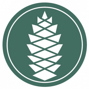 pine cone icon with a green background, white pine cone in the shape of a circle. symbolizing the many connected layers of mental health.